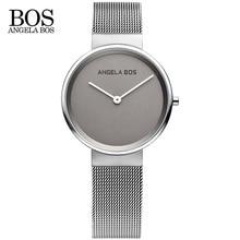 ANGELA BOS 8010 Thin Simple Sapphire Glass Quartz-watch Weave Stainless Steel Waterproof Luxury Brand Watch Women Dress Watch
