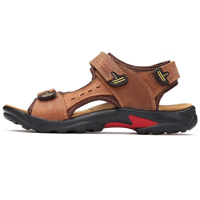 2019 мужские сандалии Летняя Высококачественная Брендовая обувь пляжные мужские сандалии повседневная обувь модная Уличная обувь из натуральной кожи 38-48
