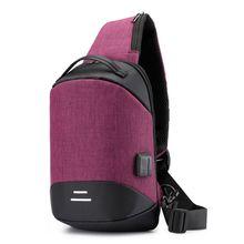 High Quality Mens Shoulder Bag Sling Chest Pack Anti Theft USB Charging Sports Crossbody Handbag