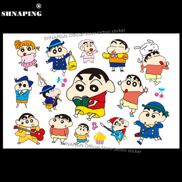 SHNAPIGN Cute Shin Chan Boy Child Temporary Tattoo Body Art Flash Tattoo Stickers 17x10cm Waterproof Henna Tatoo Car Styling