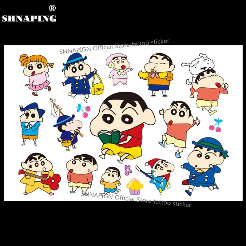 SHNAPIGN Cute Shin Chan Boy Child Dočasné tetování Body Art Flash Tattoo Stickers 17 * 10cm Waterproof Henna Tatoo Car Styling