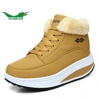 LANTI KAST Winter Women Walking Shoes Fur Height Increasing Waterproof Shoes Outdoor Non Slip Shoes Woman