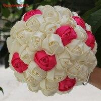 100% real picture Hoge Kwaliteit Customizied gemaakt Bruidsboeketten Zijden Rose Holding Bruidsboeket Holding Bloemen WB001