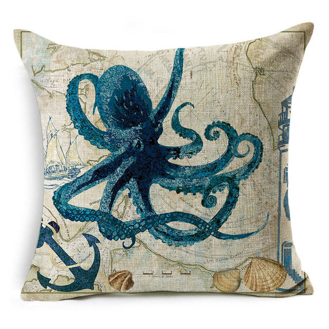 Vintage Style Sea World Cushion Cover 4