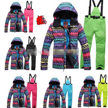 Cheap Skiing suit Free shipping New ski suits women's jacket+pants snowboarding skiing jackets Waterproof Windproof Breathable