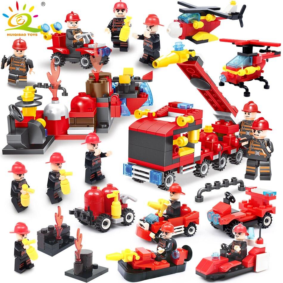 376 stücke 8in1 Feuer kampf Bausteine Kompatibel Legoingly stadt lkw Feuerwehr Hubschrauber Bildungs Bricks kinder Spielzeug
