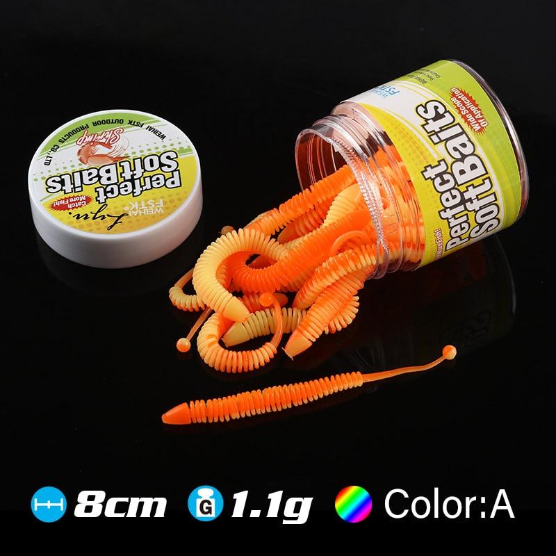 Leurres souples type alevins 8 cm avec attractant crevette ou sardine