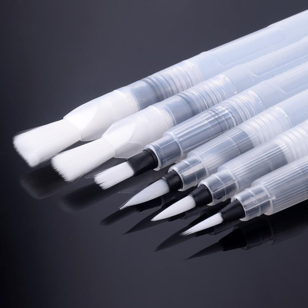 6Pcs/set Different Size Capacity Water Brush Watercolor Art Paint Brush Nylon Hair Painting Brush For Calligraphy Pen