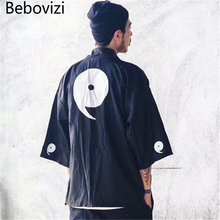 Bebovizi Japan Style Thin Kimono Jackets Summer Mens Hip Hop Tai Chi Gossip Casual Coats Streetwear Loose Robe Jacket