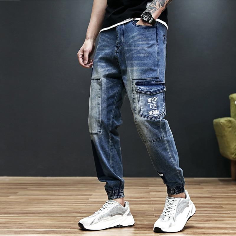 Fashion Streetwear Men Jeans Loose Fit Big Pocket Denim Cargo Pants Printed Jeans Men Patch Designer Hip Hop Joggers Jeans Homme