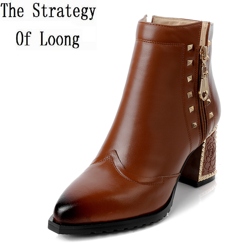 Genuine Leather Mix Color High Top Zipper Short Boots 2017 New Spring Autumn Full Grain Leather Rivet Women Ankle Boots ZY170927 new arrival girl full leather boots spring autumn casual snow high top genuine leather boots women shoes a443