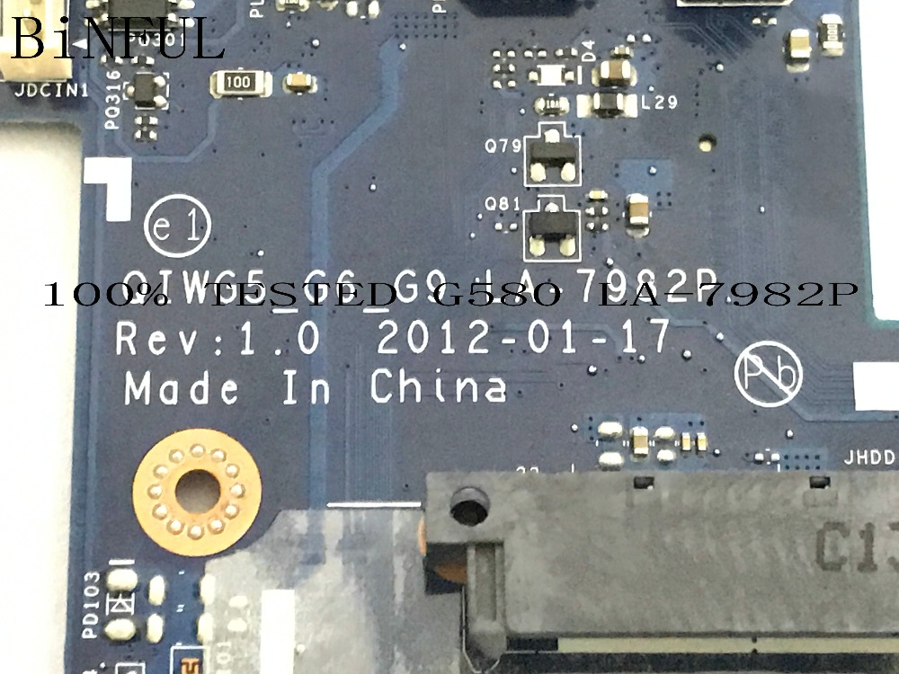 BiNFUL QIWG5_G6_G9 LA-7982P LAPTOP MOTHERBOARD FIT FOR LENOVO G580 NOTEBOOK PC COMPARE PLEASE..