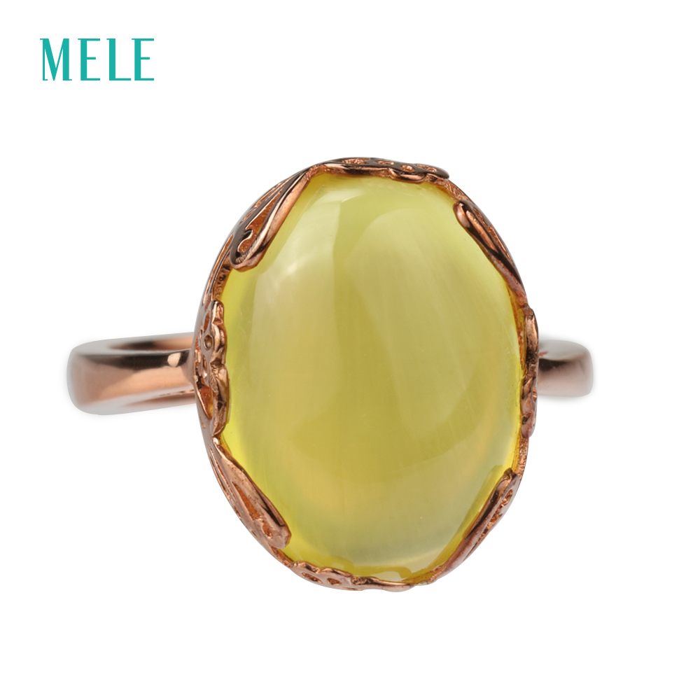 MELE Natural yellow prehnite silver ring, oval 12mm*16mm, deep yellow color, romantic design, top quality from jewelry factoryMELE Natural yellow prehnite silver ring, oval 12mm*16mm, deep yellow color, romantic design, top quality from jewelry factory