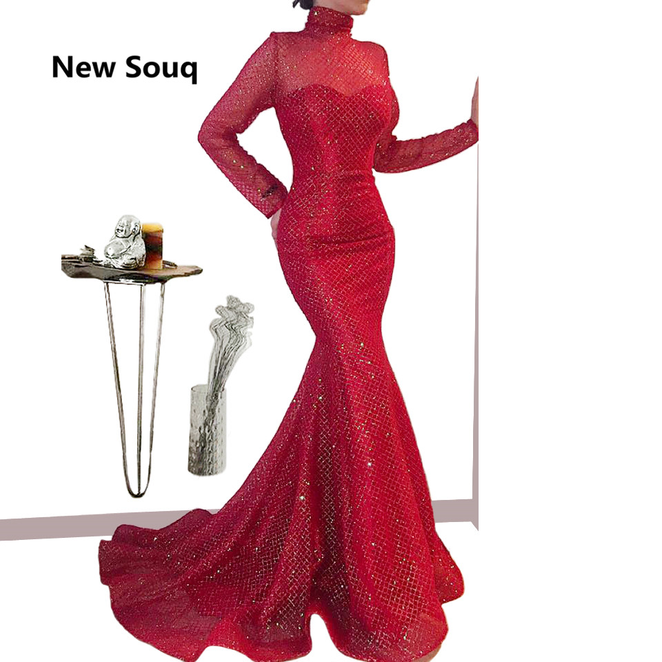 Red Sweep Train Mermaid Evening Dresses Saudi Arabic Africa High Neck Long Sleeves Evening Gowns 2019 Long Sequined Prom Dress