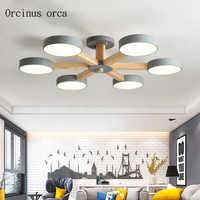 Nórdico moderno CONDUZIU a lâmpada do teto sala de estar quarto personalidade criativa de madeira simples multi cor da lâmpada do teto frete grátis