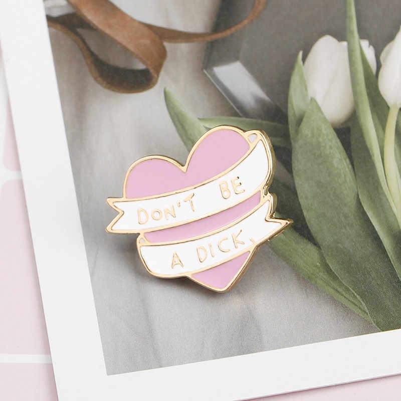 Trendi Jangan Di CK Pita Enamel Pink Hati Berbentuk Bros Pin Lencana untuk Wanita Pria Pakaian untuk Tas, Topi, Aksesoris