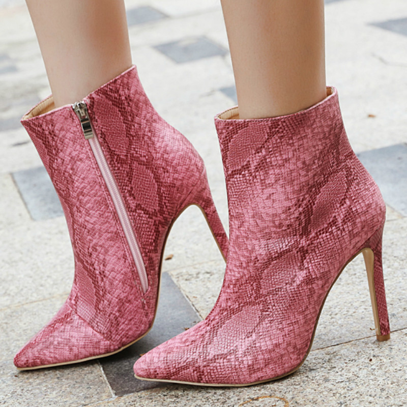 Winter women boots snake ladies fashion Ankle short lady print high thin heel pointed toe warm new style sexy  shoes