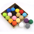 DIY Chunky cotton crochet voodoo balls,20 colors,statement necklace beads,knitted bead handmade XMAS decoration pattern EA55