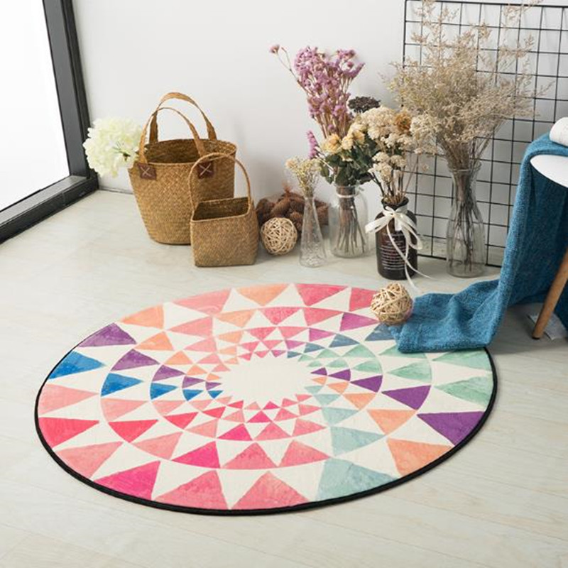 US $14.28 30% OFF|Nordic cartoon Carpets children Round Rugs Living Room  Doormat Cartoon Carpets Door Floor Mat for Bedroom colorful kid Carpet-in  ...