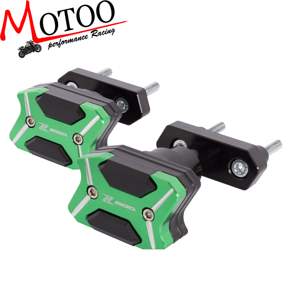 Motoo -2017 NEW CNC Aluminum  Left and Right Motorcycle Frame Slider  For  KAWASAKI Z800 2013-2015  Anti Crash pads Protector motorcycle cnc aluminum frame sliders crash pads protector suitable for kawasaki z800 2012 2013 2014 2015 2016 green