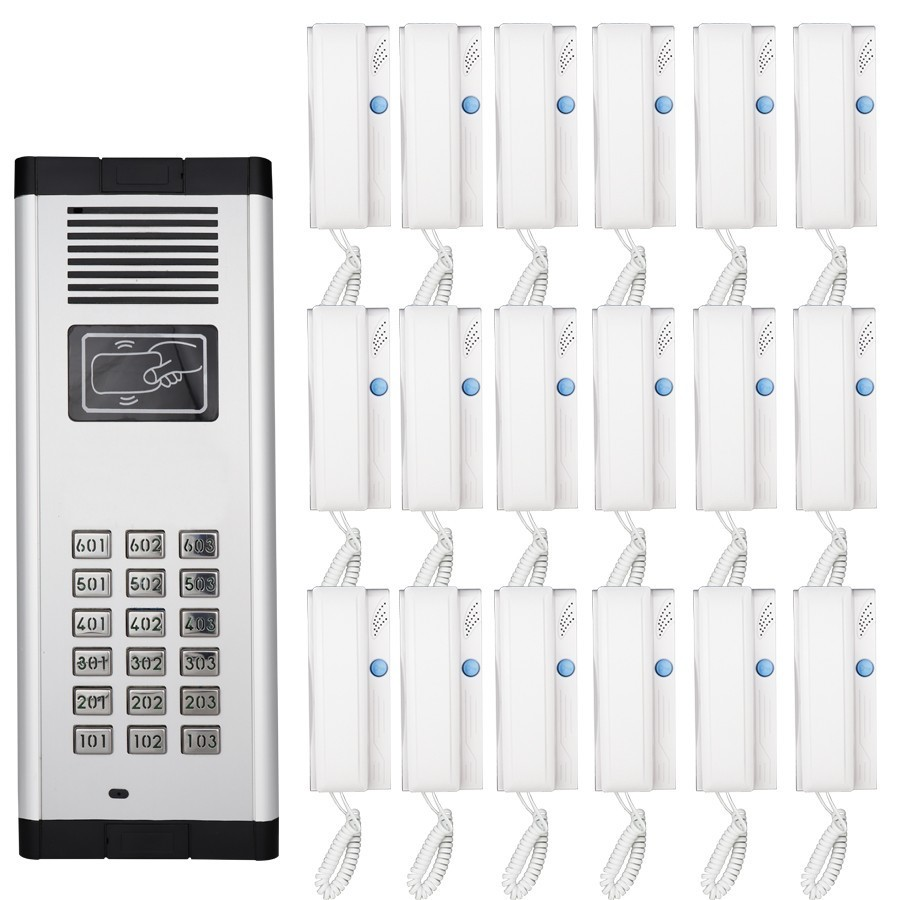 JERUAN Building Security Direct Press Key Audio Door Phone for 18 Apartments 2-wired Audio Intercom Unlock System Support RFID smtvdp direct press key audio door phone for 5 apartments 2 wired audio intercom system