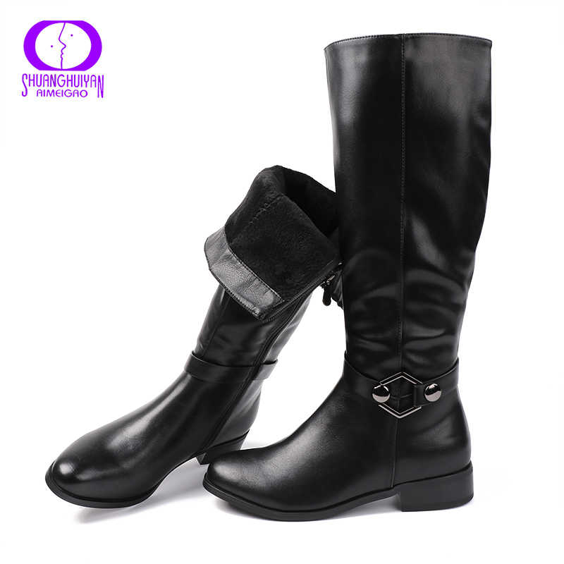 AIMEIGAO באיכות גבוהה הברך גבוהה מגפי נשים רך עור הברך חורף מגפיים נוח חם פרווה נשים ארוך מגפי נעליים