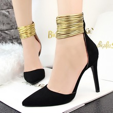 Ladies Pumps Stiletto Sexy Ankle Strap Shoes Women Club Heeled Pumps Thin High Heeld Cut-out Ethnic Fashion Women Pumps