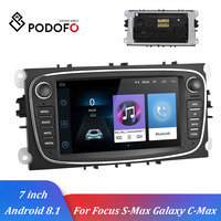 Podofo Car Multimedia player Android 8.1 GPS Autoradio 2 Din 7'' Car Radios DVD Player For Ford/Focus/S Max/Mondeo 9/GalaxyC Max