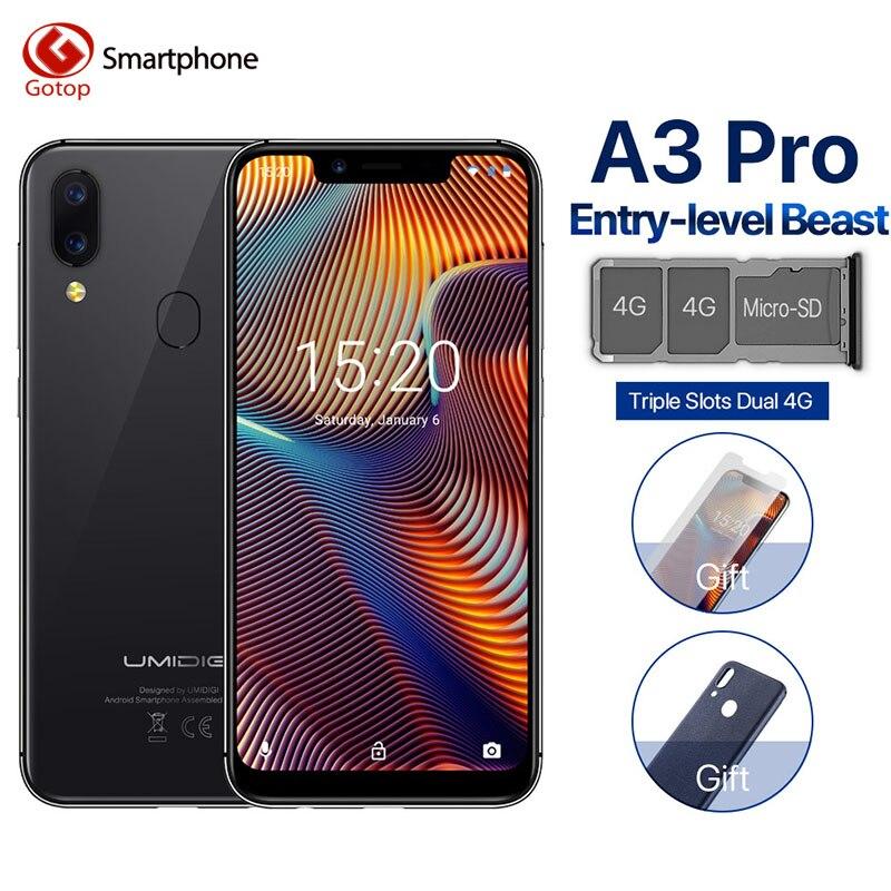 UMIDIGI A3 Pro Глобальный Band 5,7 19:9 весь смартфон 3 ГБ + 32 ГБ Quad core Android 8,1 12MP + 5MP Face Unlock двойной мобильный телефон 4G