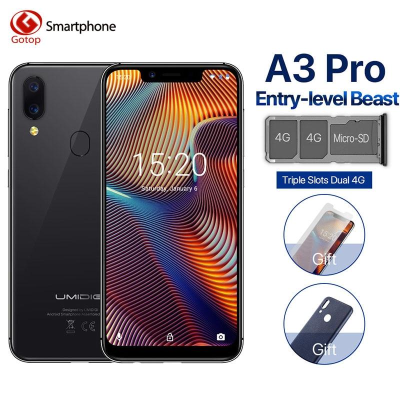 UMIDIGI A3 Pro Global Band 5.7 19:9 smartphone plein écran 3GB + 32GB Quad core Android 8.1 12MP + 5MP visage déverrouiller double téléphone portable 4G