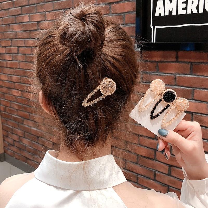 Hot Selling Women Hair Accessories Girls Crystal Hairpins Geometric Alloy Hair Clips Simple Waterdrop New Rhinestone Barrettes in Women 39 s Hair Accessories from Apparel Accessories