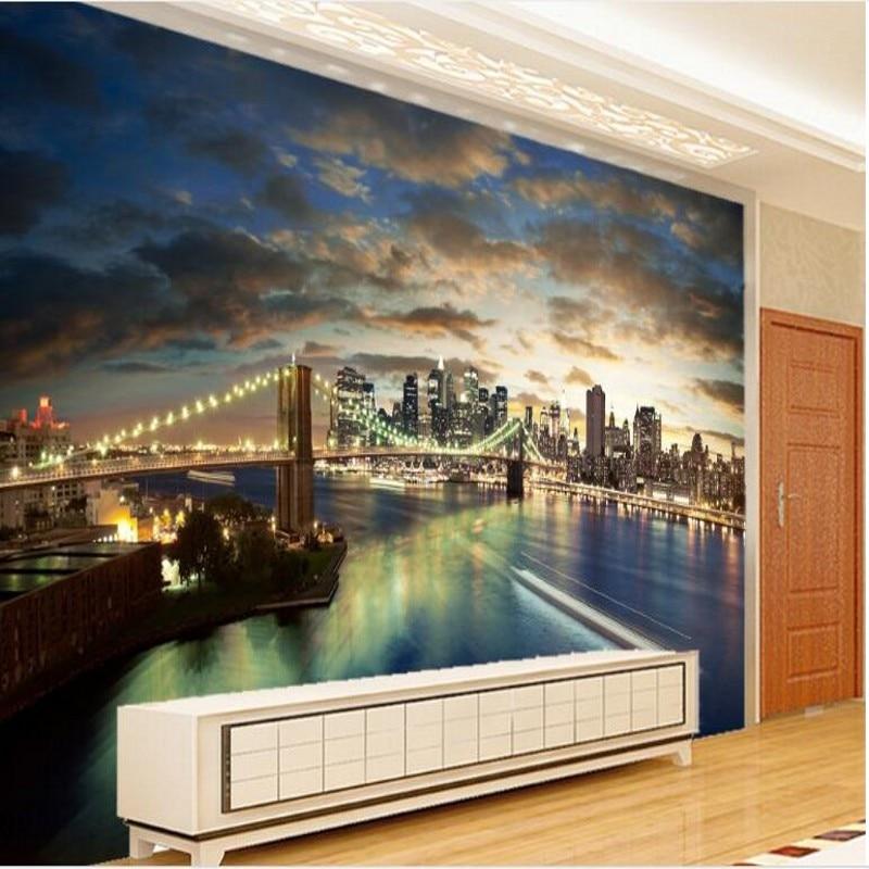 Us 885 41 Offbeibehang Custom Large Fresco New York Brooklyn Bridge Night Tv Backdrop Non Woven Wallpaper Papel De Parede Para Quarto In