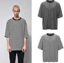 2019 Men Dropped Shoulder Loose T-shirt Black And White Striped Round Neck Short Sleeve T-shirt Men's Casual T-shirt drop shoulder striped t shirt with split