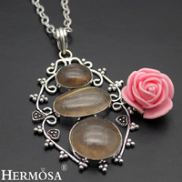 Hermosa Jewelry Beauty Retro Style 925 Sterling Silver Jewelry Natural Rutilated Quartz Necklace Pendant HF1237