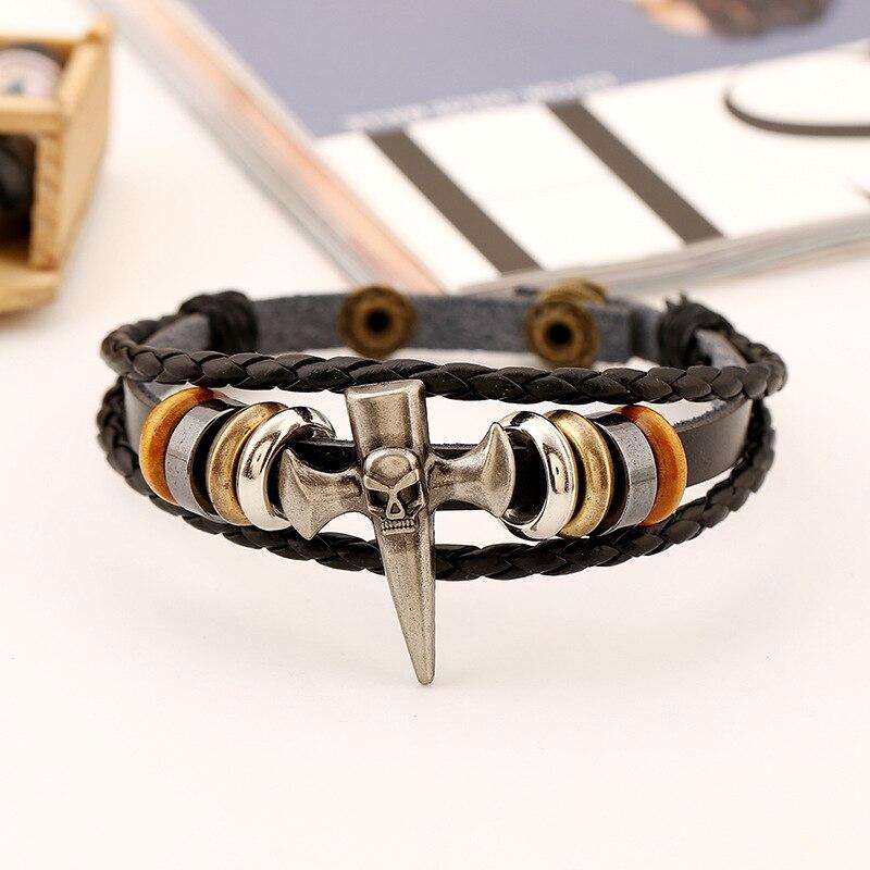 Bracelet tête de mort pic squelette croix Viking  2