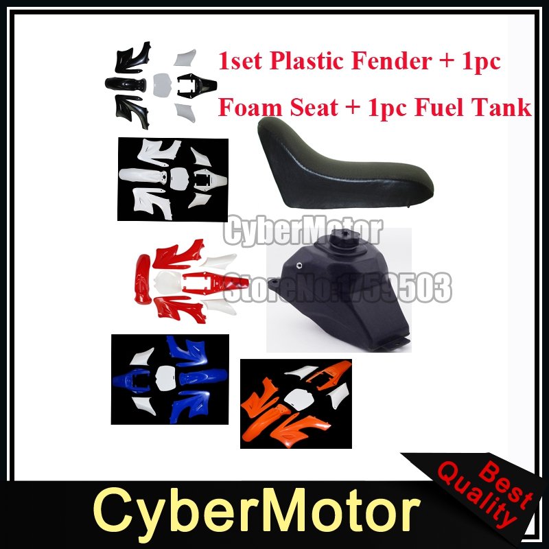 цена на Plastic Fender Fairing Kits Foam Seat Petrol Gas Fuel Tank For Chinese 2 Stroke 47 49cc Apollo KXD Orion Mini Dirt Bike
