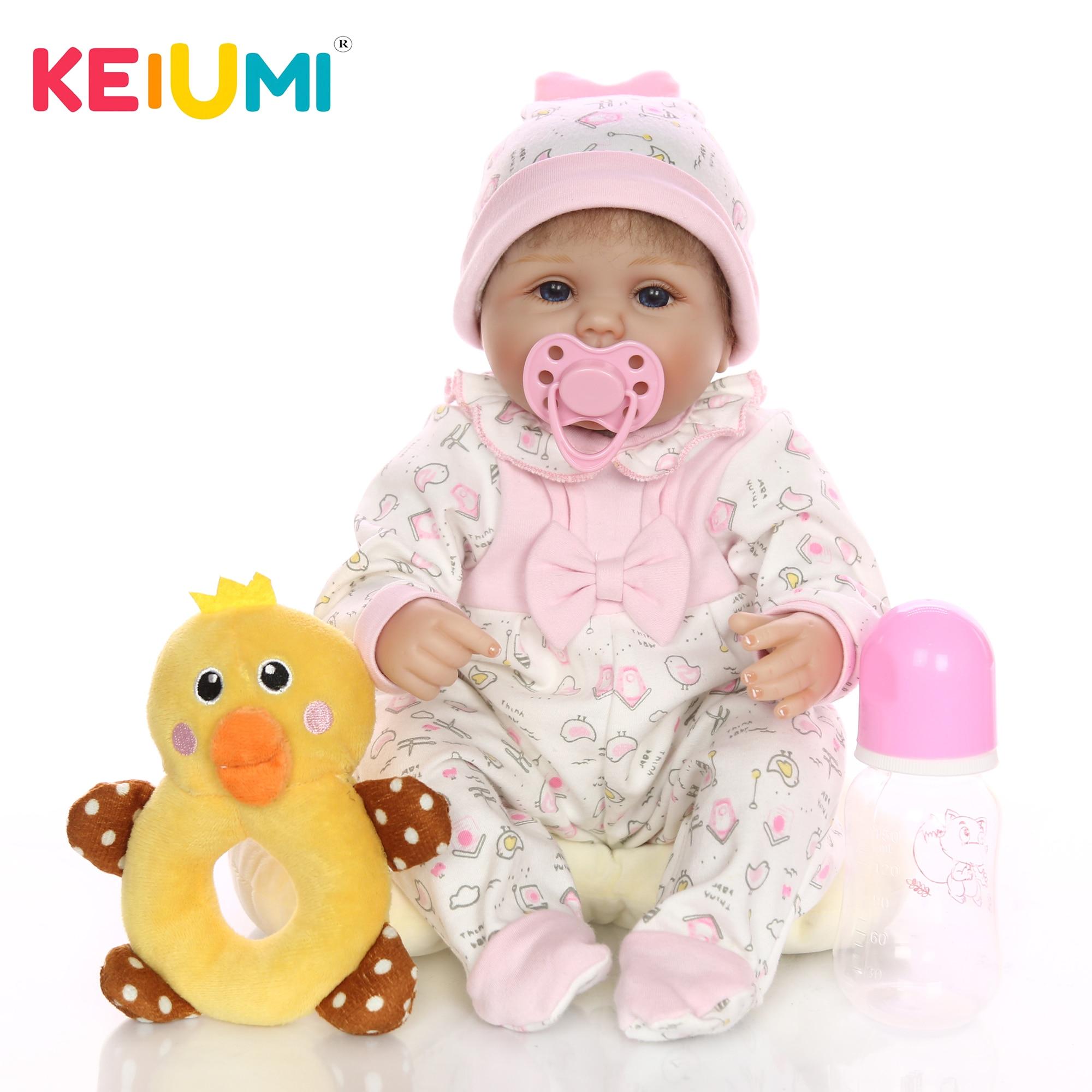 """Keiumi 뜨거운 판매 17 """"42 cm 아기 reborn 소녀 인형 살아있는 실리콘 부드러운 코튼 바디 현실적인 아기 장난감 인형 아이 생일 선물-에서인형부터 완구 & 취미 의  그룹 1"""