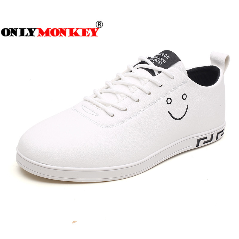 ONLYMONKEY Smile Face Men Vulcanized Shoes 39-44 Lace-up Men Casual Shoes Durable Outsole Footwear Fashion Men Sneakers simple smiley face and lace up design men s casual shoes