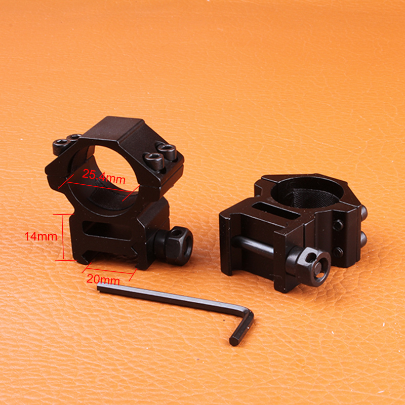 Hunting Gun Accessories 25 4mm 1 2PCs Middle Wide Profile Picatinny Weaver Rings Hunting Riflescope 20mm