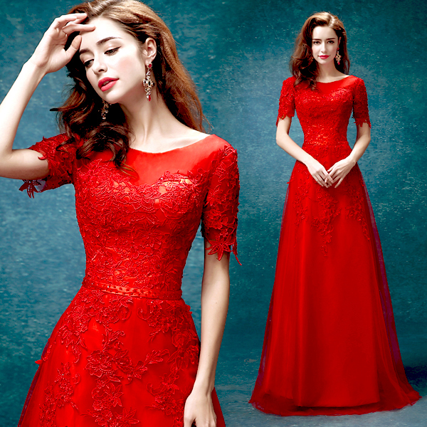 Red And White Wedding Dresses With Sleeves: 2015 Elegant Red Lace Flowers Short Sleeve Bandage Floor