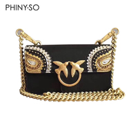 Newest Fashion swallow lock messenger bag luxury famous brand style bags women handbag genuine leather chains flap small size