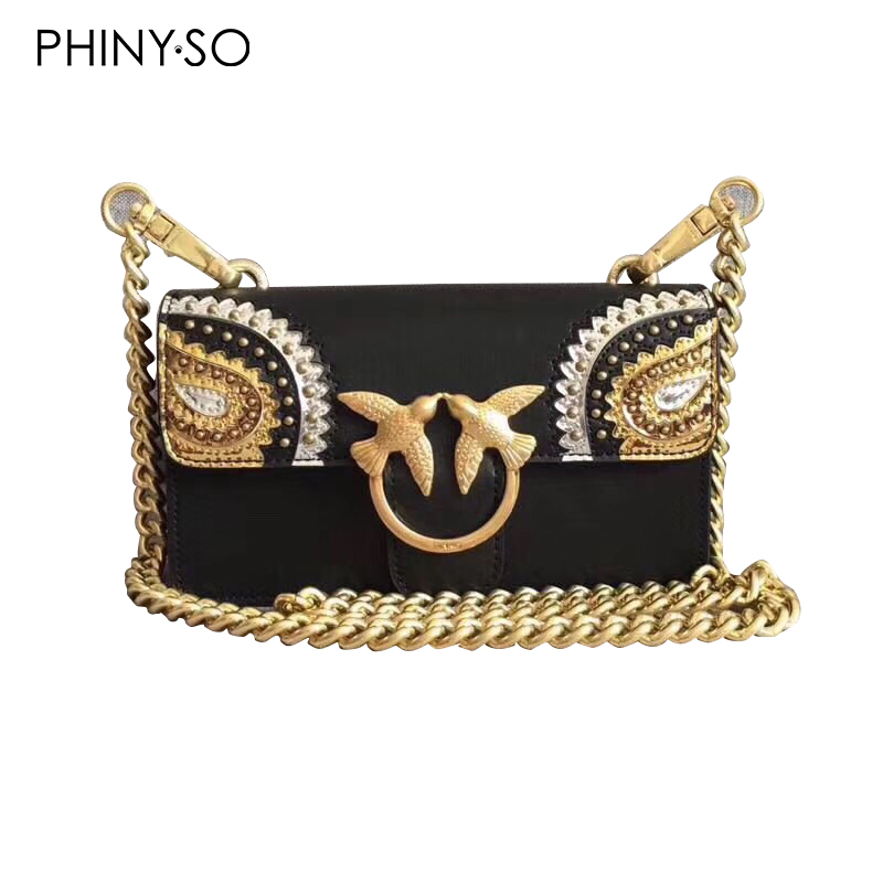 Newest Fashion swallow lock messenger bag luxury famous brand style bags women handbag genuine leather chains