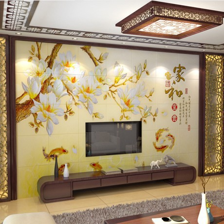 Chinese living room TV background wall painted ceramic wall tile ...