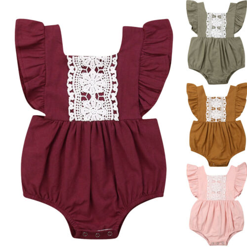 Newborn Baby Girl Summer Solid Romper Bodysuit Jumpsuit Outfits Clothes 0-24M