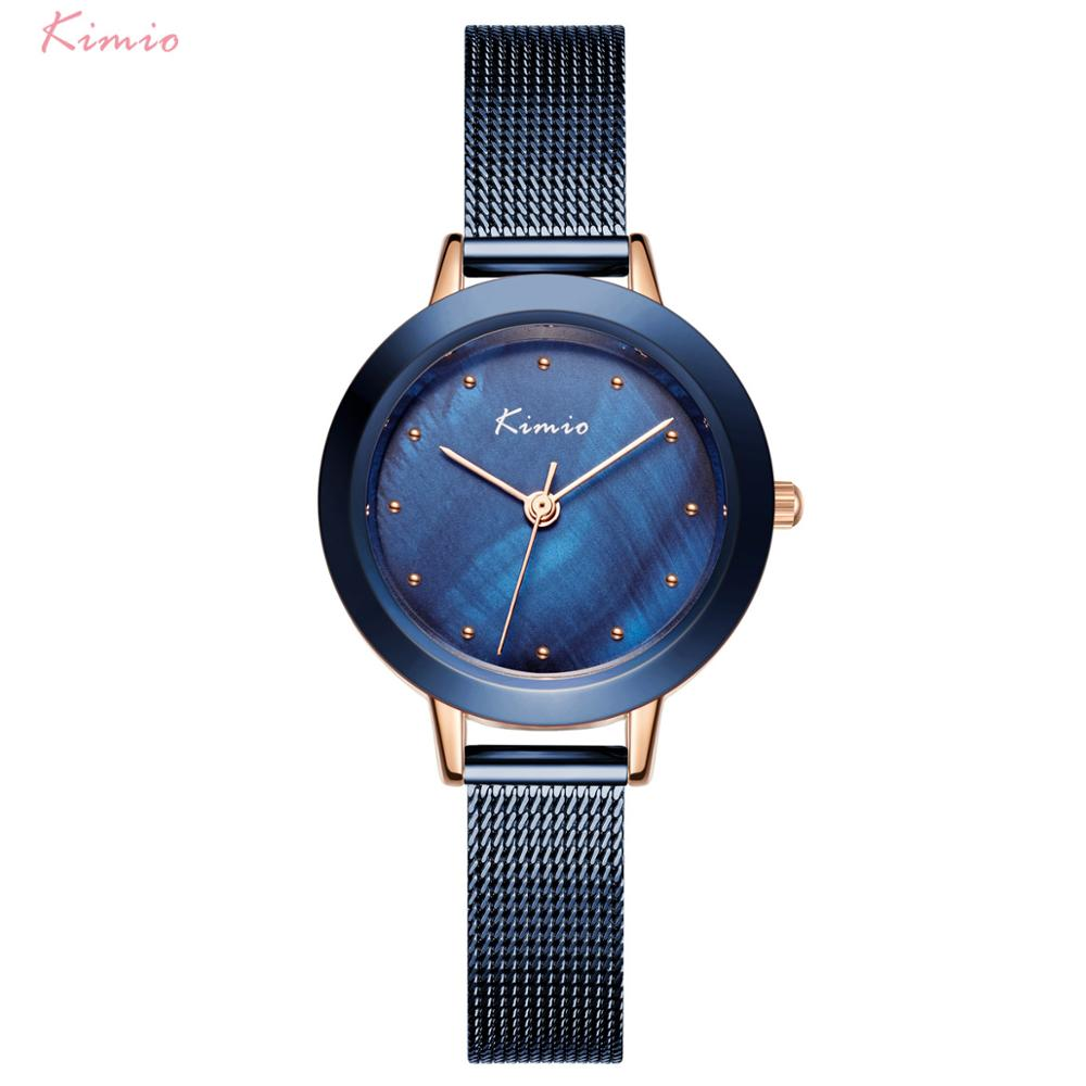 Kimio Simple Women Watches Blue Waterproof Lady Watch For Woman Watch 2019 Brand Luxury Fashion Casual Ladies Quartz Wristwatch
