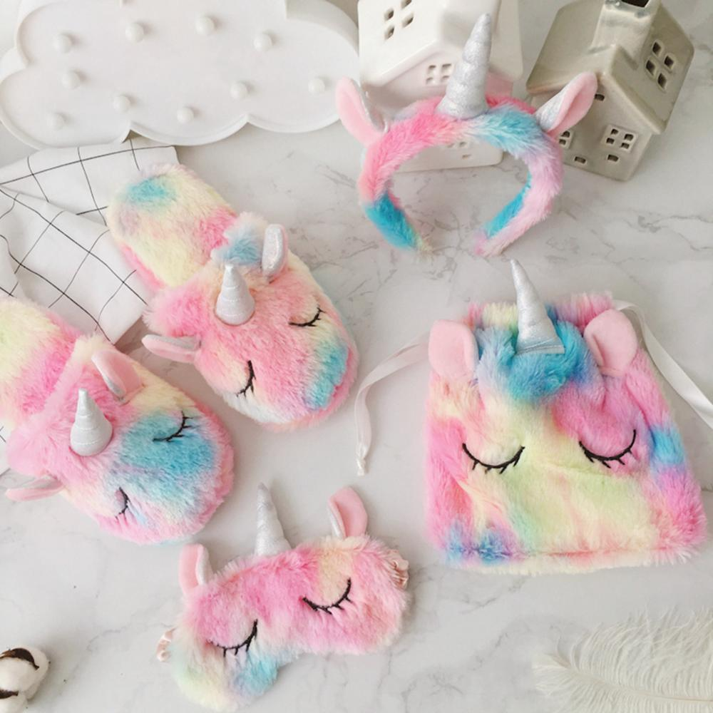 Mask Slippers Unicorn Girl Winter Home Plush Drawstring-Bag Hair-Band Eyeglass Ice-Cream