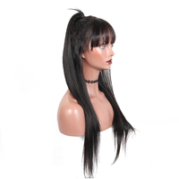 360 lace Frontal Wig Pre Plucked With Baby Hair Straight Brazilian Lace Human Hair Wig With Bang For Women Honey Queen Remy