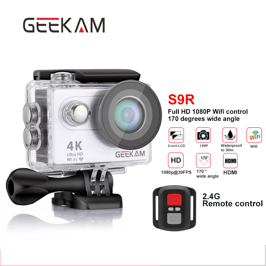 action camera S9R 4k WiFi hd 1080P 30FPS go sport waterproof camera pro 170D underwater camara deportiva helmet cam GEEKAM 2017 arrival original eken action camera h9 h9r 4k sport camera with remote hd wifi 1080p 30fps go waterproof pro actoin cam