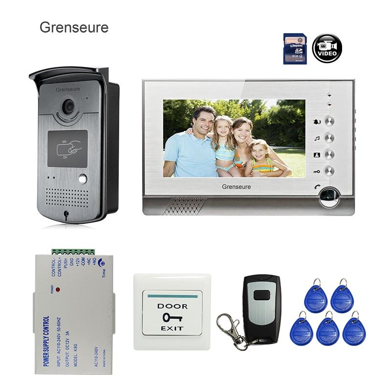 FREE SHIPPING New 7 Color Screen Recording Video Intercom Door Phone Set + Outdoor RFID Access Doorbell Camera + Power + 8G SD