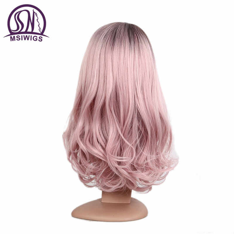 Msiwigs longo ombre loira peruca para mulher dois tons cinza rosa ondulado perucas resistente ao calor sintético falso cabelo